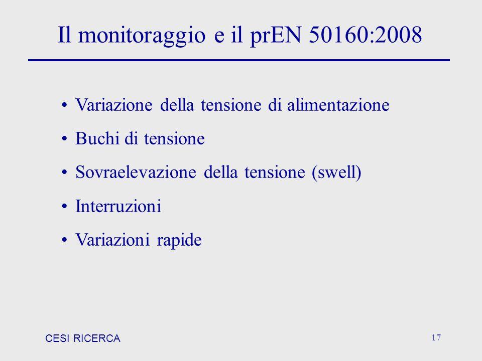 CESI RICERCA 17 Il monitoraggio e il prEN 50160:2008 Variazione della tensione di alimentazione Buchi di tensione Sovraelevazione della tensione (swel