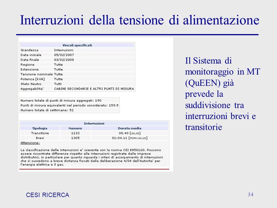 CESI RICERCA 34 Interruzioni della tensione di alimentazione Il Sistema di monitoraggio in MT (QuEEN) già prevede la suddivisione tra interruzioni bre