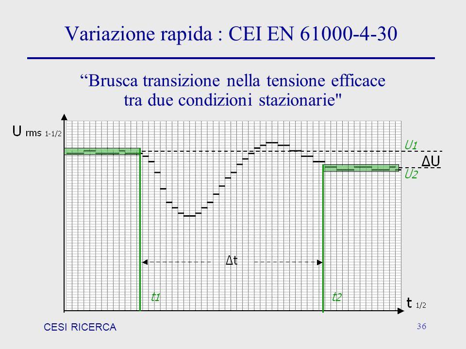 CESI RICERCA 36 Variazione rapida : CEI EN 61000-4-30 Brusca transizione nella tensione efficace tra due condizioni stazionarie