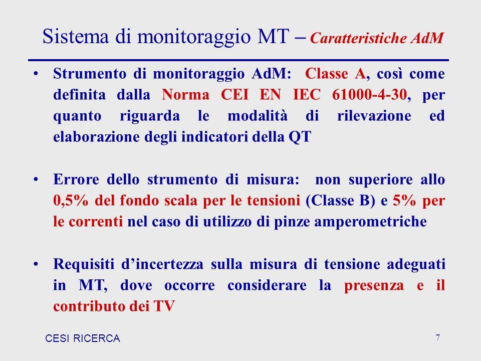 CESI RICERCA 7 Sistema di monitoraggio MT – Caratteristiche AdM Strumento di monitoraggio AdM: Classe A, così come definita dalla Norma CEI EN IEC 610