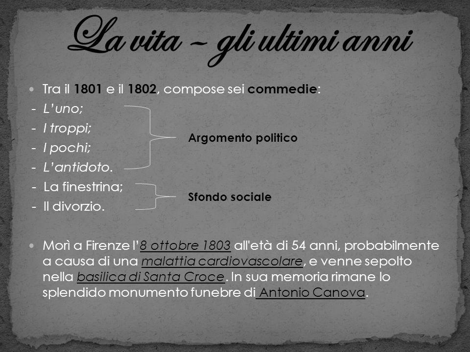 Tra il 1801 e il 1802, compose sei commedie : - Luno; - I troppi; - I pochi; - Lantidoto. - La finestrina; - Il divorzio. Morì a Firenze l8 ottobre 18