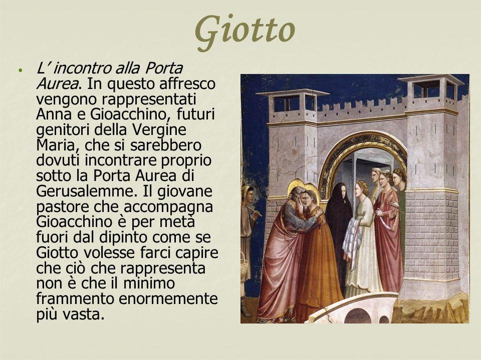 Giotto L incontro alla Porta Aurea. In questo affresco vengono rappresentati Anna e Gioacchino, futuri genitori della Vergine Maria, che si sarebbero