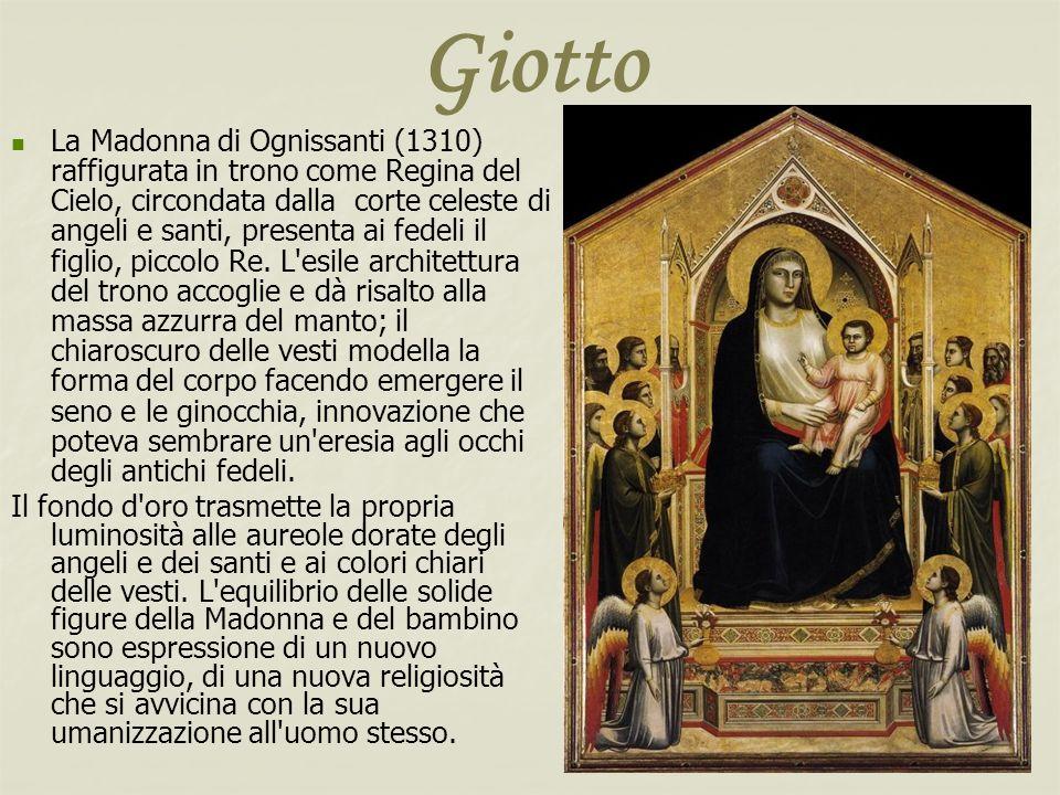 Giotto La Madonna di Ognissanti (1310) raffigurata in trono come Regina del Cielo, circondata dalla corte celeste di angeli e santi, presenta ai fedel