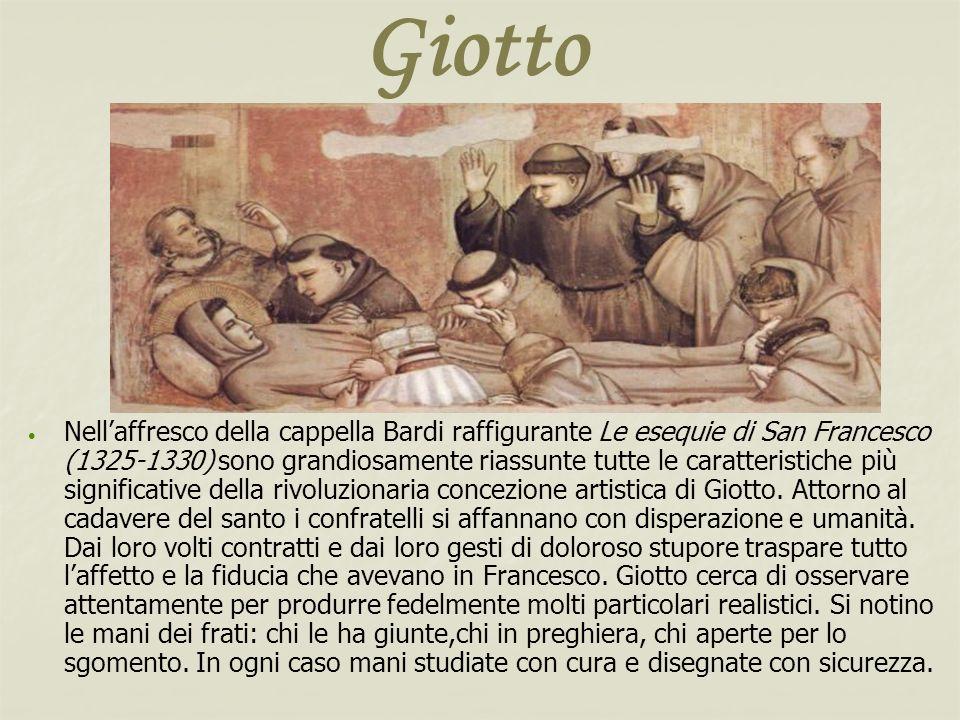 Giotto Nellaffresco della cappella Bardi raffigurante Le esequie di San Francesco (1325-1330) sono grandiosamente riassunte tutte le caratteristiche p