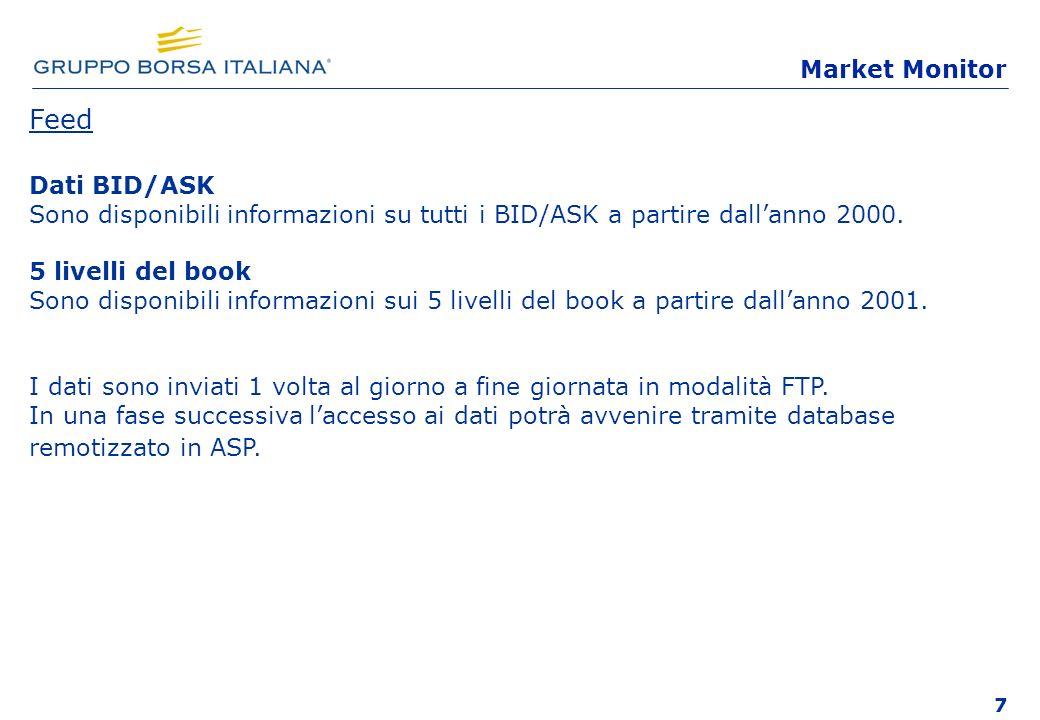 7 Feed Dati BID/ASK Sono disponibili informazioni su tutti i BID/ASK a partire dallanno 2000. 5 livelli del book Sono disponibili informazioni sui 5 l