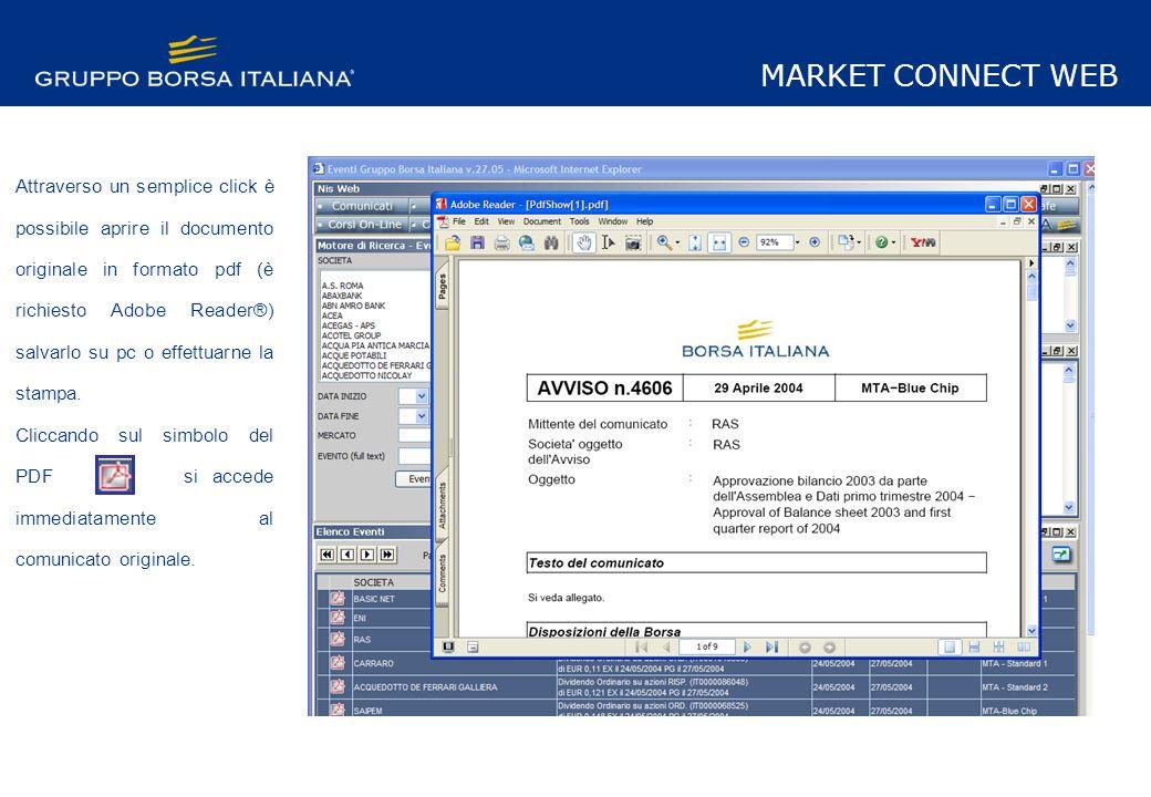 Attraverso un semplice click è possibile aprire il documento originale in formato pdf (è richiesto Adobe Reader®) salvarlo su pc o effettuarne la stampa.