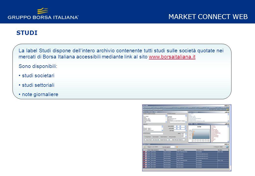 Il modulo studi è diviso in 4 sezioni: - Motore Ricerca - Elenco studi - Elenco emittenti - Grafico Intraday S&P MARKET CONNECT WEB