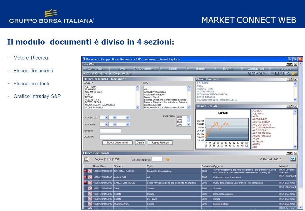 Il modulo documenti è diviso in 4 sezioni: - Motore Ricerca - Elenco documenti - Elenco emittenti - Grafico Intraday S&P MARKET CONNECT WEB