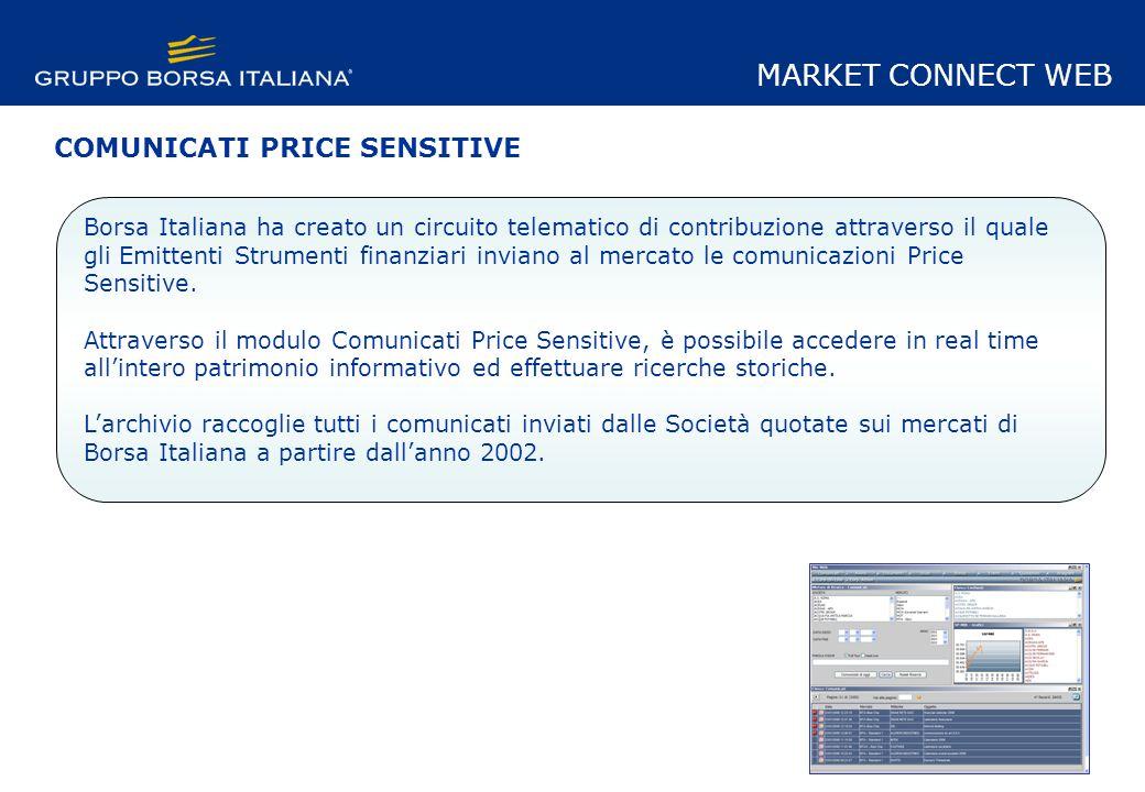 MARKET CONNECT WEB Borsa Italiana ha creato un circuito telematico di contribuzione attraverso il quale gli Emittenti Strumenti finanziari inviano al mercato le comunicazioni Price Sensitive.