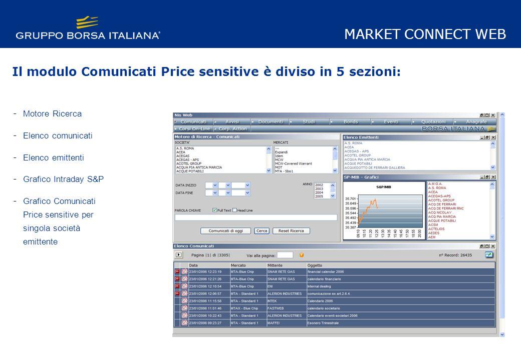 Il modulo Comunicati Price sensitive è diviso in 5 sezioni: - Motore Ricerca - Elenco comunicati - Elenco emittenti - Grafico Intraday S&P - Grafico Comunicati Price sensitive per singola società emittente MARKET CONNECT WEB