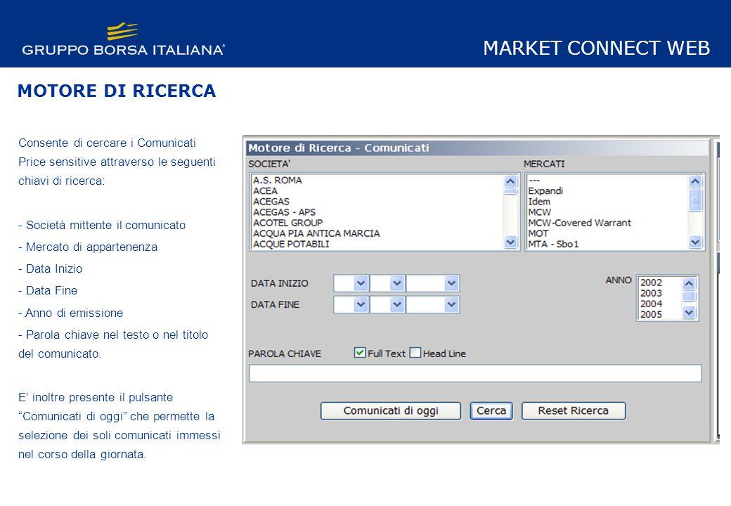 ELENCO COMUNICATI Vengono visualizzati in ordine cronologico i comunicati Price Sensitve.