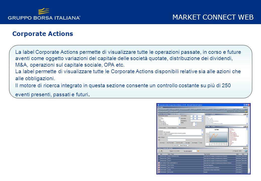 La label Corporate Actions permette di visualizzare tutte le operazioni passate, in corso e future aventi come oggetto variazioni del capitale delle società quotate, distribuzione dei dividendi, M&A, operazioni sul capitale sociale, OPA etc.