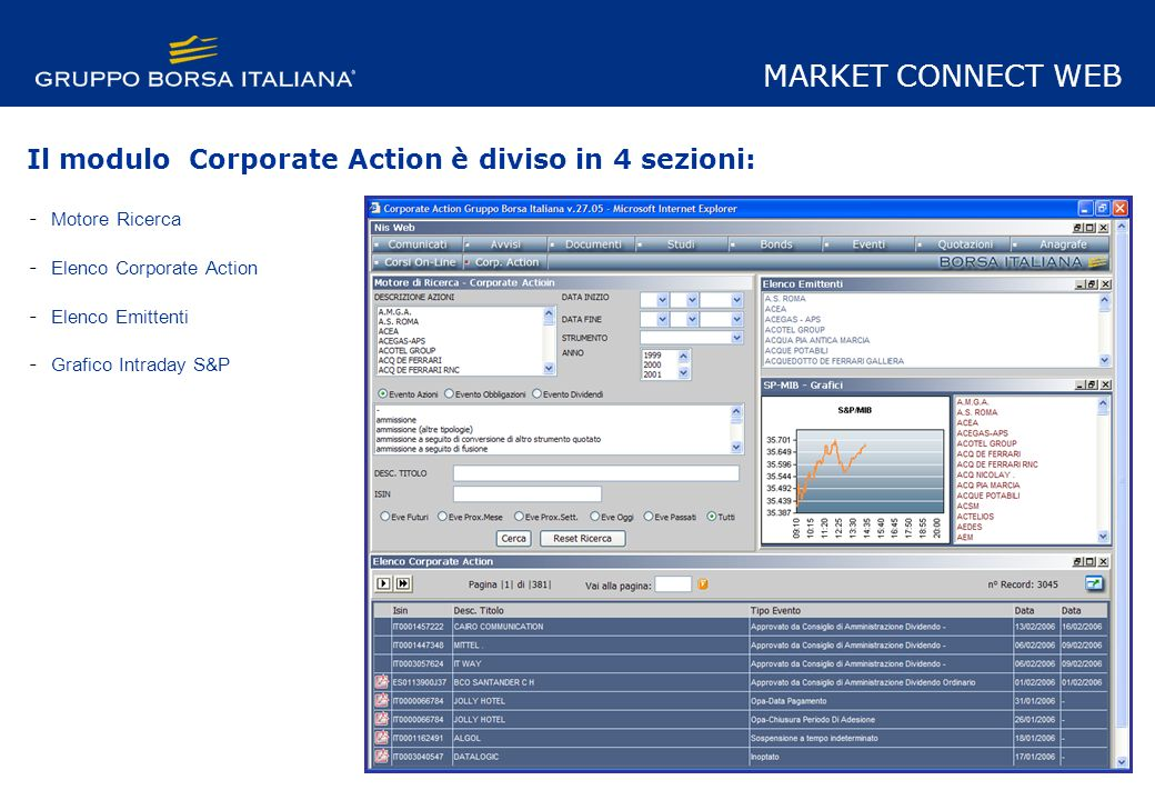 Il modulo Corporate Action è diviso in 4 sezioni: - Motore Ricerca - Elenco Corporate Action - Elenco Emittenti - Grafico Intraday S&P MARKET CONNECT WEB