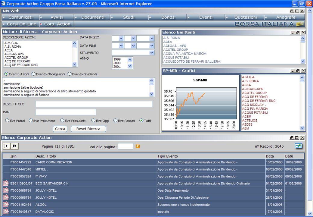 Il motore di ricerca presenta una interfaccia semplice e intuitiva che permette di effettuare ricerche mirate mediante i seguenti filtri: - Descrizione azioni - Data, intervallo temporale - Tipologia evento - Strumento - Descrizione titolo - Isin MARKET CONNECT WEB MOTORE DI RICERCA