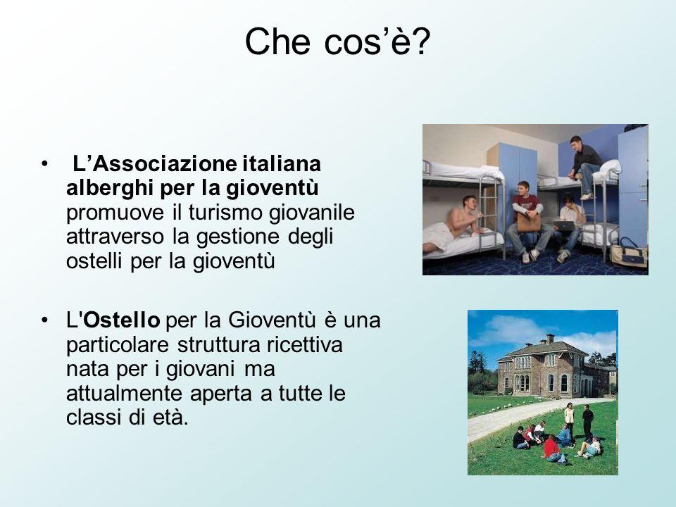 Che cosè? LAssociazione italiana alberghi per la gioventù promuove il turismo giovanile attraverso la gestione degli ostelli per la gioventù L'Ostello