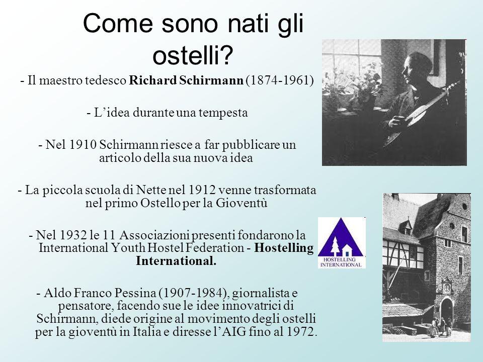 Come sono nati gli ostelli? - Il maestro tedesco Richard Schirmann (1874-1961) - Lidea durante una tempesta - Nel 1910 Schirmann riesce a far pubblica