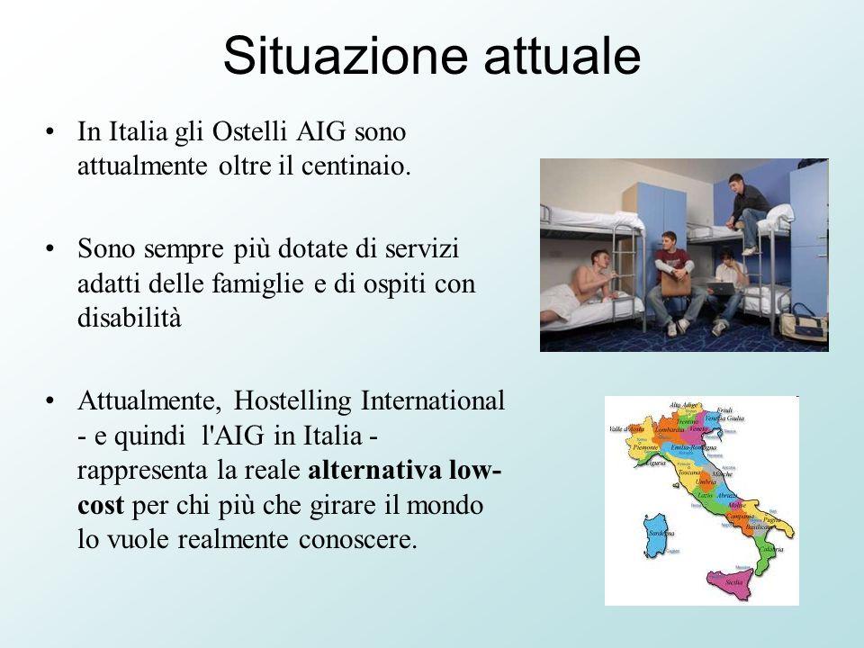 Situazione attuale In Italia gli Ostelli AIG sono attualmente oltre il centinaio. Sono sempre più dotate di servizi adatti delle famiglie e di ospiti