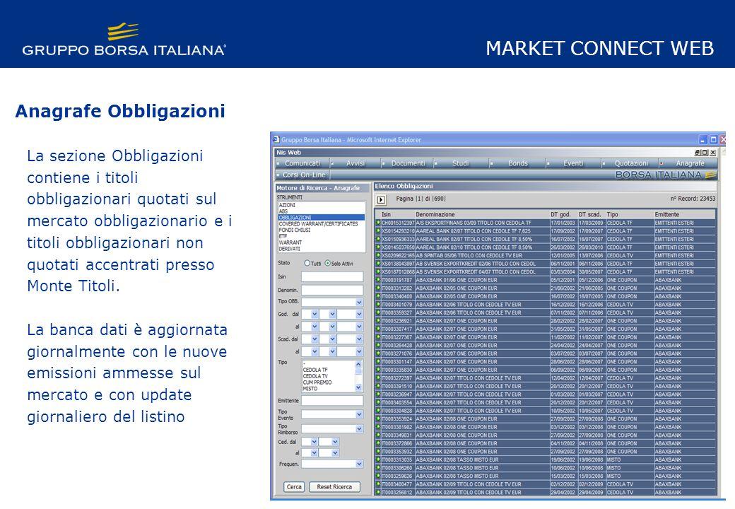La sezione Obbligazioni contiene i titoli obbligazionari quotati sul mercato obbligazionario e i titoli obbligazionari non quotati accentrati presso Monte Titoli.