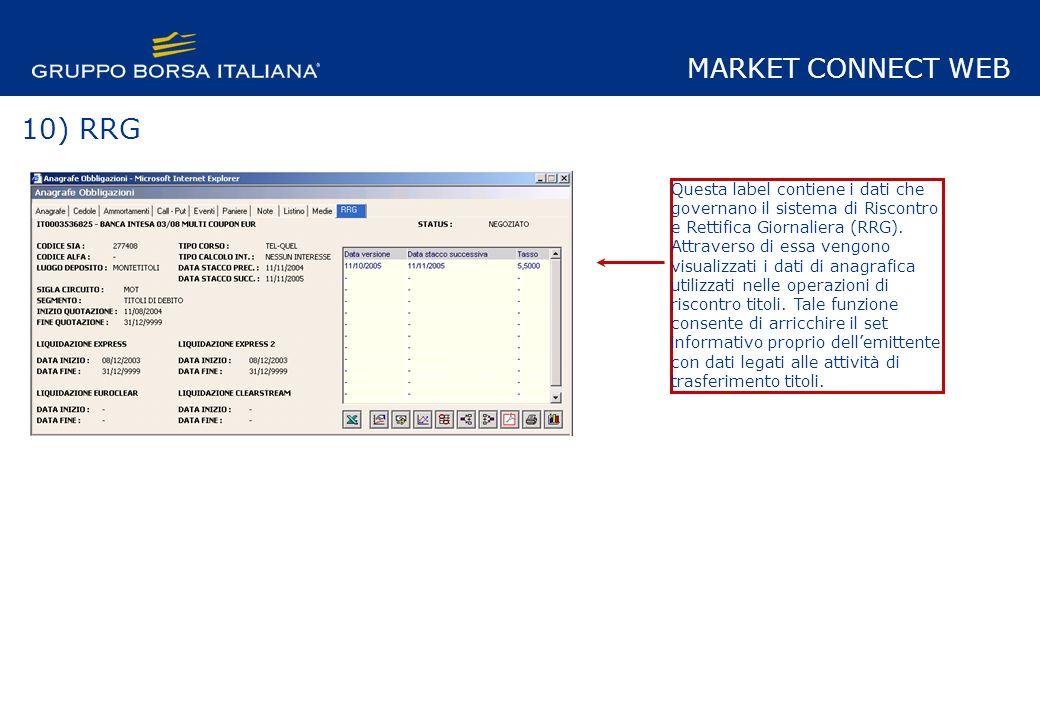 10) RRG Questa label contiene i dati che governano il sistema di Riscontro e Rettifica Giornaliera (RRG).