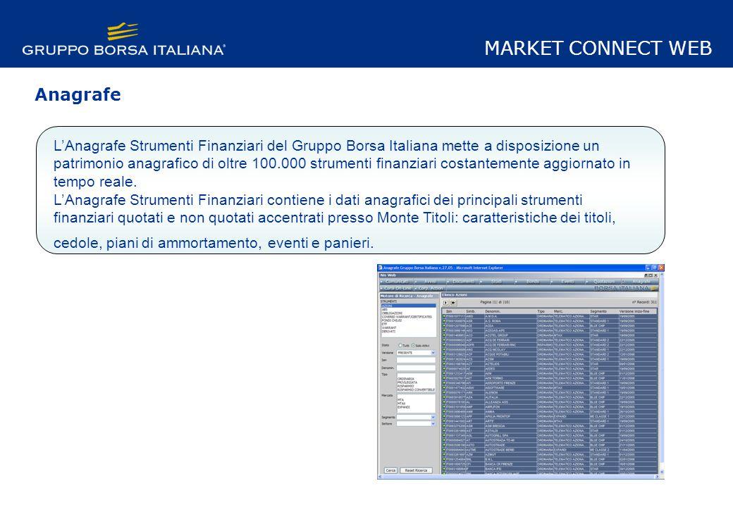 LAnagrafe Strumenti Finanziari del Gruppo Borsa Italiana mette a disposizione un patrimonio anagrafico di oltre 100.000 strumenti finanziari costantemente aggiornato in tempo reale.