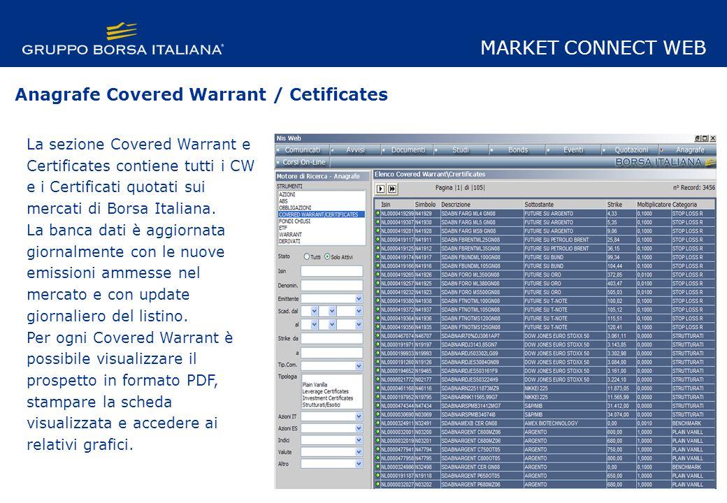 La sezione Covered Warrant e Certificates contiene tutti i CW e i Certificati quotati sui mercati di Borsa Italiana.