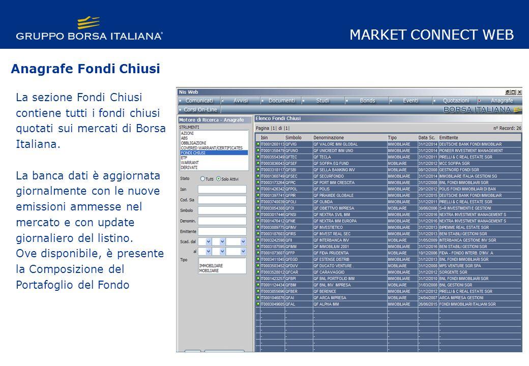 La sezione Fondi Chiusi contiene tutti i fondi chiusi quotati sui mercati di Borsa Italiana.