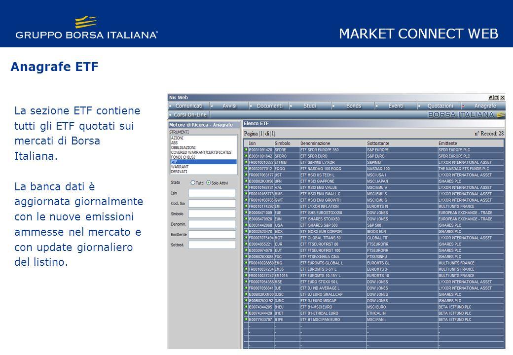 La sezione ETF contiene tutti gli ETF quotati sui mercati di Borsa Italiana.