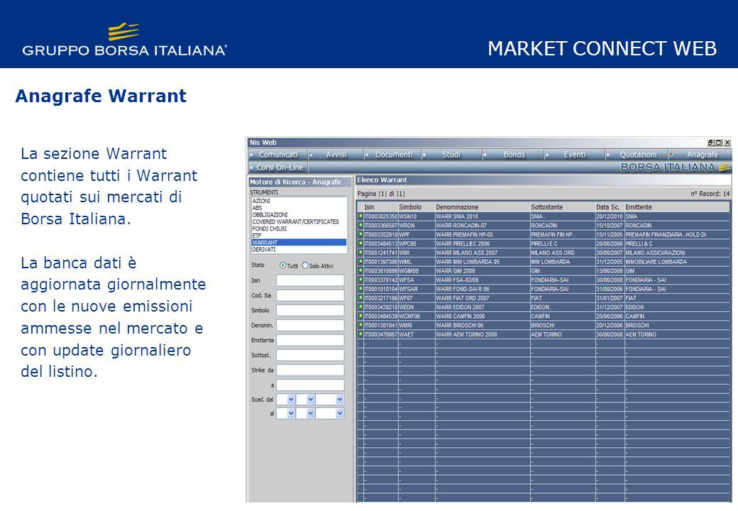 La sezione Warrant contiene tutti i Warrant quotati sui mercati di Borsa Italiana.