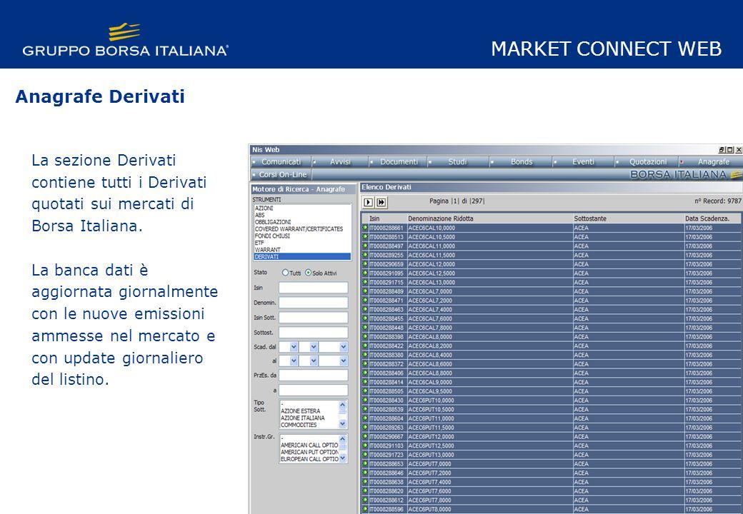 La sezione Derivati contiene tutti i Derivati quotati sui mercati di Borsa Italiana.