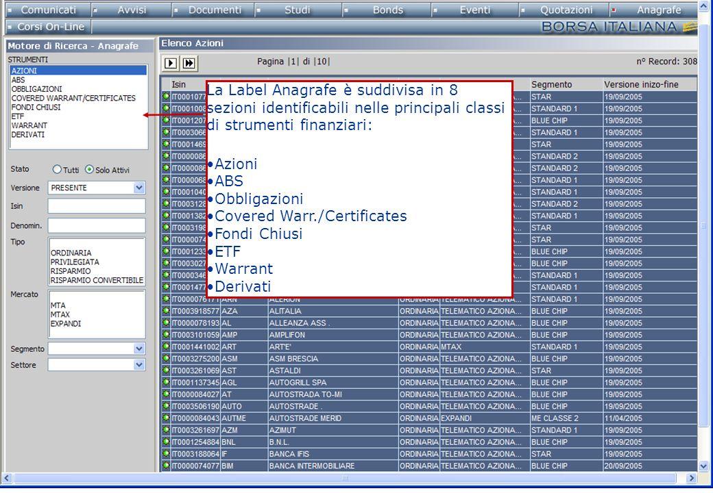 La Label Anagrafe è suddivisa in 8 sezioni identificabili nelle principali classi di strumenti finanziari: Azioni ABS Obbligazioni Covered Warr./Certificates Fondi Chiusi ETF Warrant Derivati