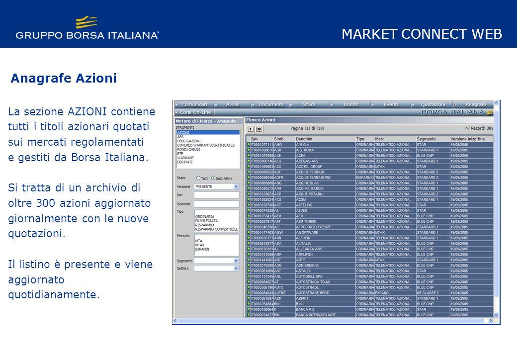 La sezione AZIONI contiene tutti i titoli azionari quotati sui mercati regolamentati e gestiti da Borsa Italiana.