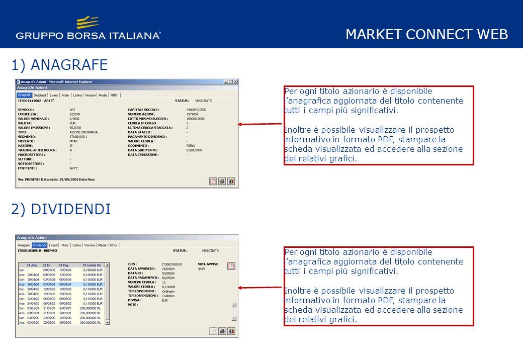 1) ANAGRAFE 2) DIVIDENDI Per ogni titolo azionario è disponibile lanagrafica aggiornata del titolo contenente tutti i campi più significativi.