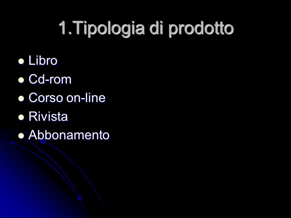 1.Tipologia di prodotto Libro Libro Cd-rom Cd-rom Corso on-line Corso on-line Rivista Rivista Abbonamento Abbonamento