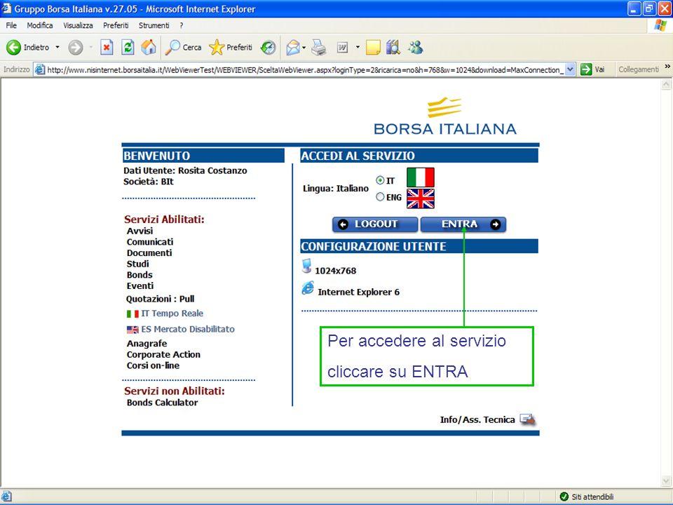 Per accedere al servizio cliccare su ENTRA