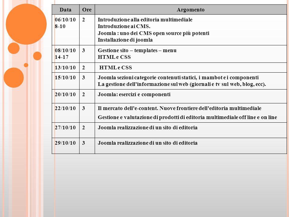 DataOreArgomento 06/10/10 8-10 2Introduzione alla editoria multimediale Introduzione ai CMS.