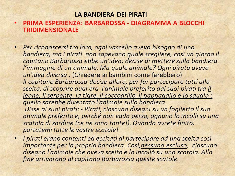 LA BANDIERA DEI PIRATI PRIMA ESPERIENZA: BARBAROSSA - DIAGRAMMA A BLOCCHI TRIDIMENSIONALE Per riconoscersi tra loro, ogni vascello aveva bisogno di un