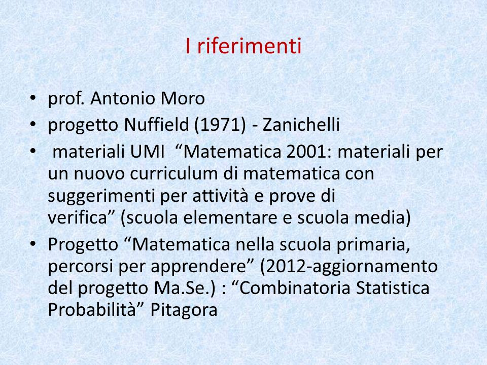 I riferimenti prof.
