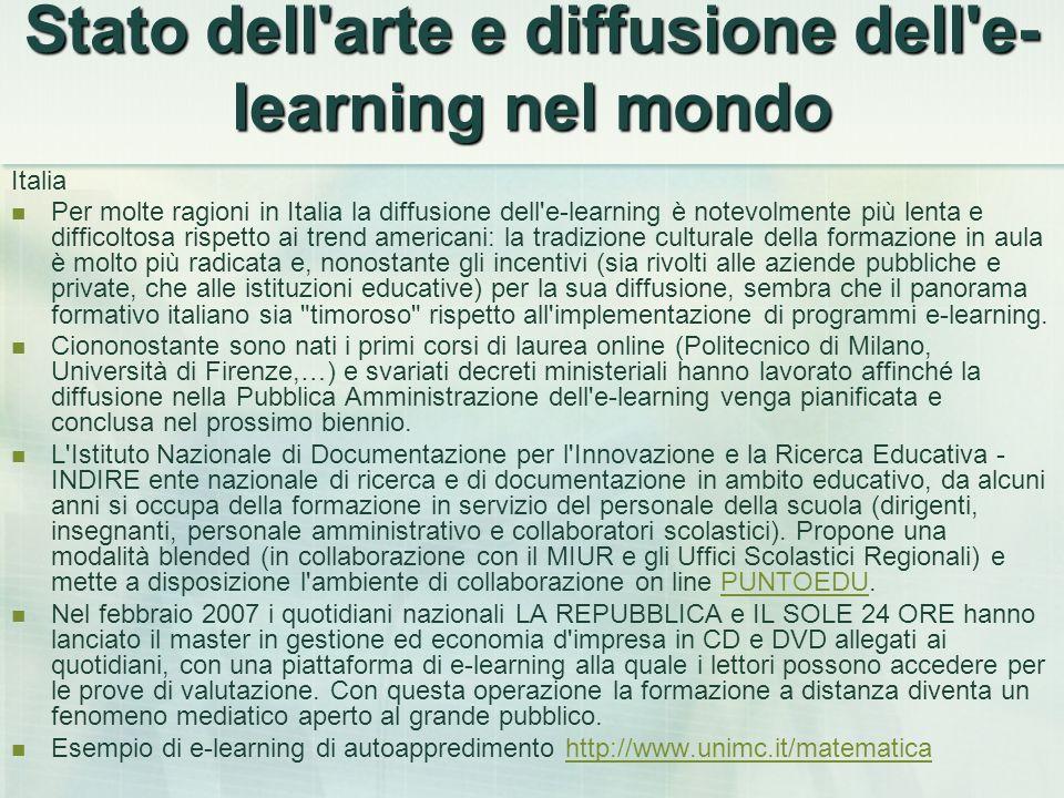 Stato dell'arte e diffusione dell'e- learning nel mondo Italia Per molte ragioni in Italia la diffusione dell'e-learning è notevolmente più lenta e di
