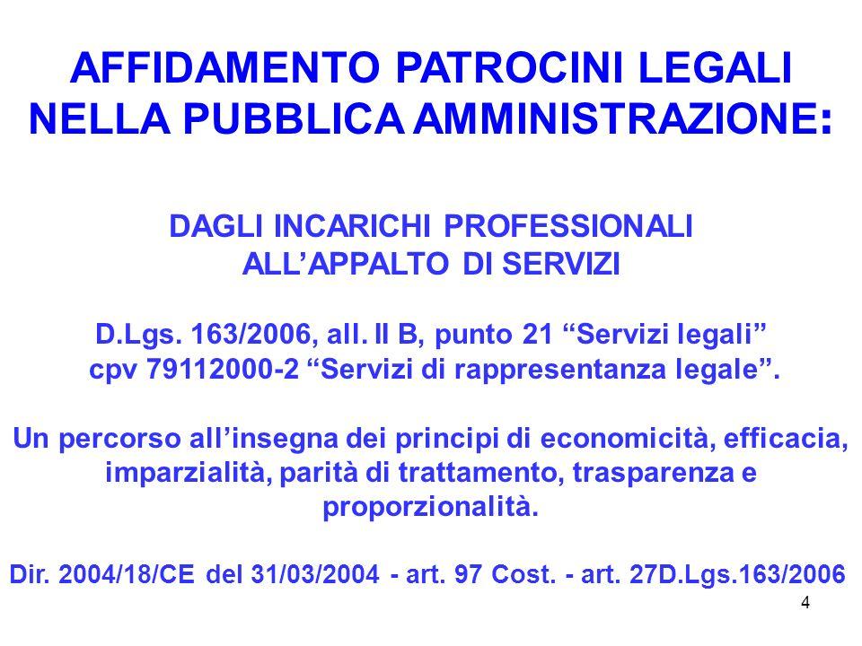 4 AFFIDAMENTO PATROCINI LEGALI NELLA PUBBLICA AMMINISTRAZIONE : DAGLI INCARICHI PROFESSIONALI ALLAPPALTO DI SERVIZI D.Lgs.