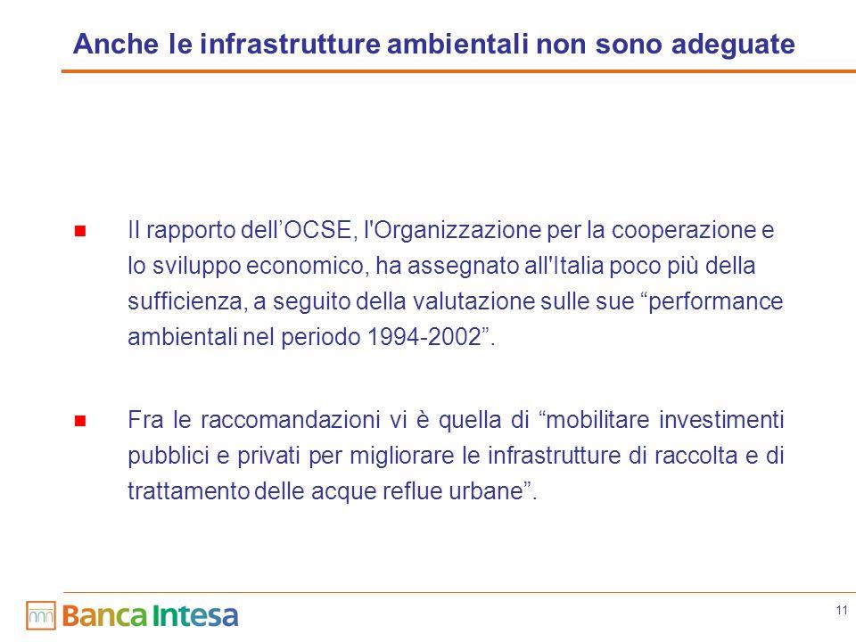 11 Anche le infrastrutture ambientali non sono adeguate Il rapporto dellOCSE, l Organizzazione per la cooperazione e lo sviluppo economico, ha assegnato all Italia poco più della sufficienza, a seguito della valutazione sulle sue performance ambientali nel periodo 1994-2002.