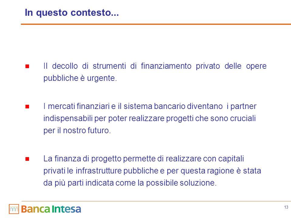 13 In questo contesto... Il decollo di strumenti di finanziamento privato delle opere pubbliche è urgente. I mercati finanziari e il sistema bancario