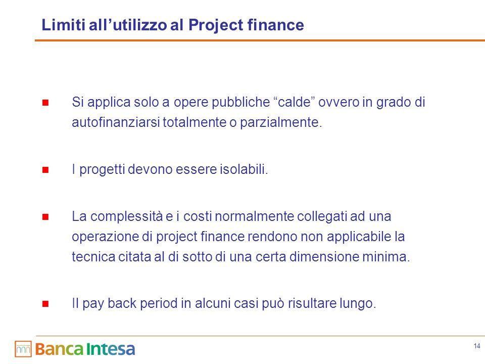 14 Limiti allutilizzo al Project finance Si applica solo a opere pubbliche calde ovvero in grado di autofinanziarsi totalmente o parzialmente. I proge