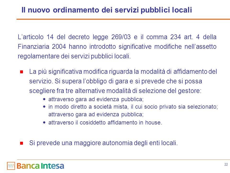 22 Il nuovo ordinamento dei servizi pubblici locali Larticolo 14 del decreto legge 269/03 e il comma 234 art. 4 della Finanziaria 2004 hanno introdott