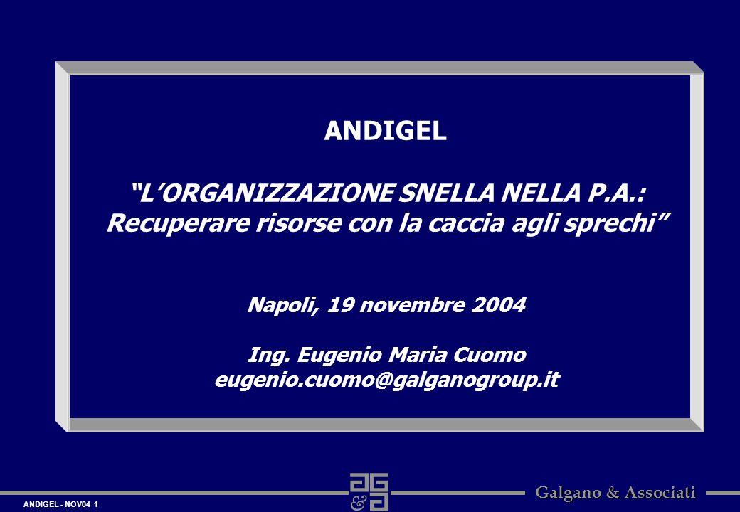 ANDIGEL - NOV04 1 Galgano & Associati ANDIGEL LORGANIZZAZIONE SNELLA NELLA P.A.: Recuperare risorse con la caccia agli sprechi Napoli, 19 novembre 200