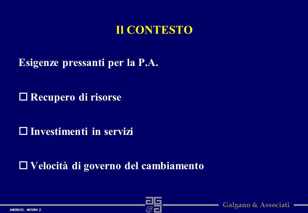 ANDIGEL - NOV04 2 Galgano & Associati Il CONTESTO Esigenze pressanti per la P.A. oRecupero di risorse oInvestimenti in servizi oVelocità di governo de