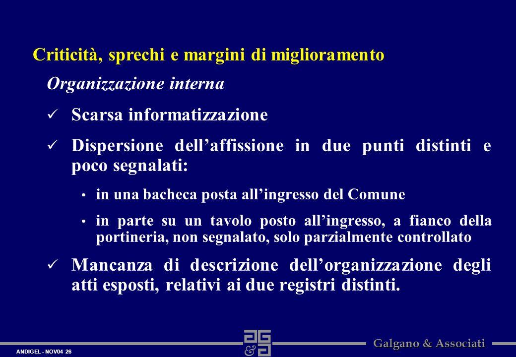 ANDIGEL - NOV04 26 Galgano & Associati Organizzazione interna Scarsa informatizzazione Dispersione dellaffissione in due punti distinti e poco segnala