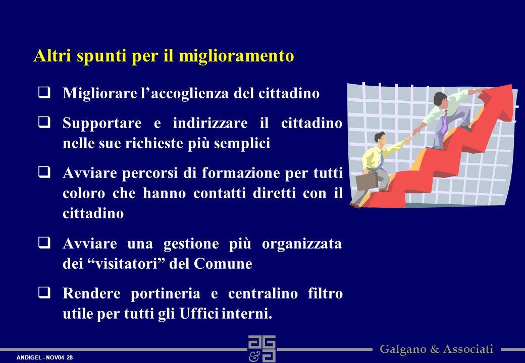 ANDIGEL - NOV04 28 Galgano & Associati Migliorare laccoglienza del cittadino Supportare e indirizzare il cittadino nelle sue richieste più semplici Av