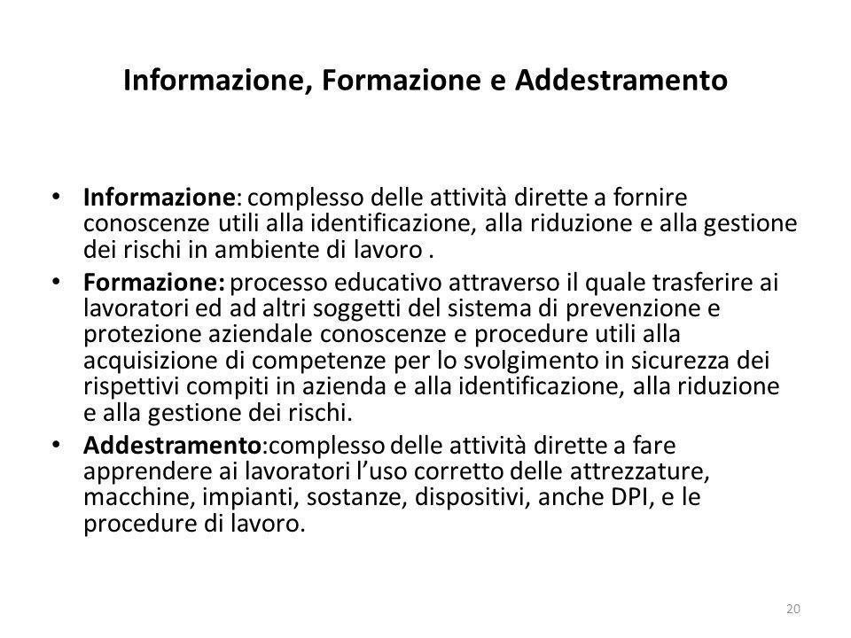 Informazione, Formazione e Addestramento Informazione: complesso delle attività dirette a fornire conoscenze utili alla identificazione, alla riduzion