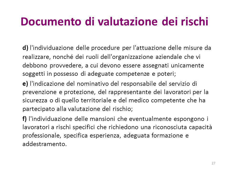 Documento di valutazione dei rischi d) l'individuazione delle procedure per l'attuazione delle misure da realizzare, nonché dei ruoli dell'organizzazi