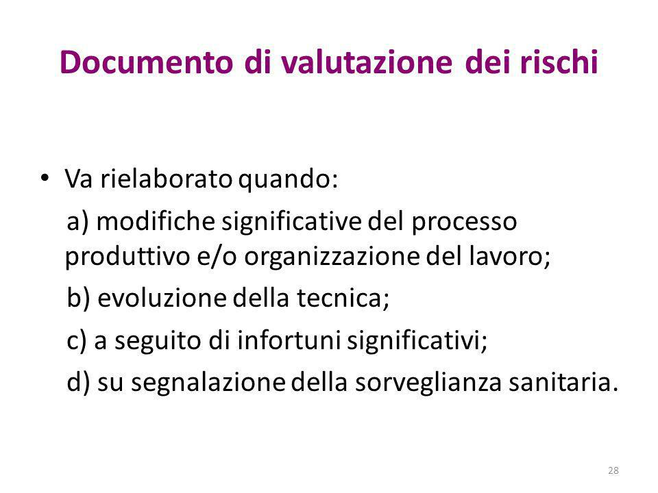 Documento di valutazione dei rischi Va rielaborato quando: a) modifiche significative del processo produttivo e/o organizzazione del lavoro; b) evoluz